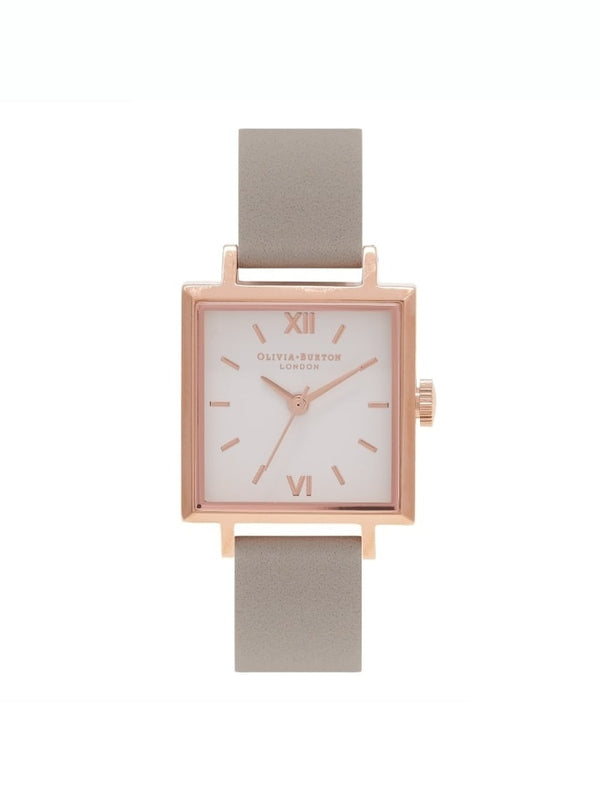 Olivia Burton OB16SS03 Square Dial Grey & Rose Gold Leather Ladies Watch