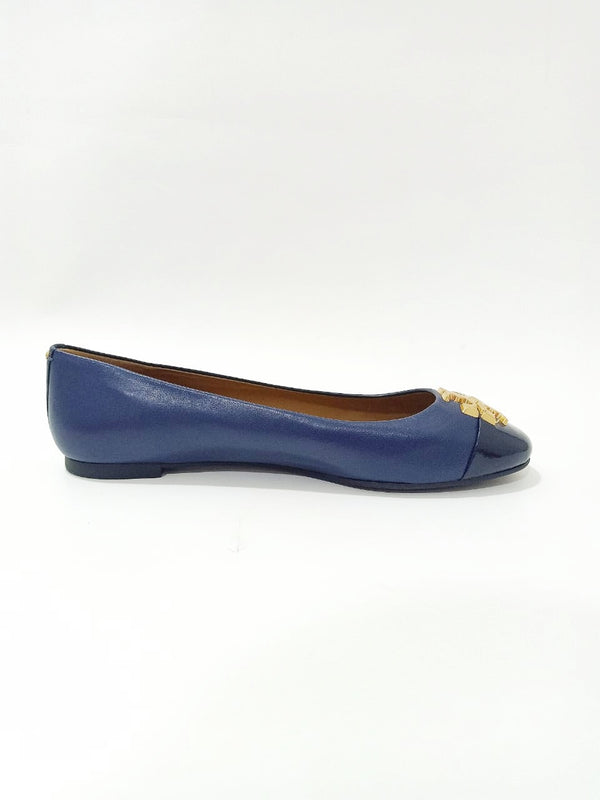 Tory Burch 60226 Everly Cap Toe Ballet Nappa Leather Royal Navy Size 7