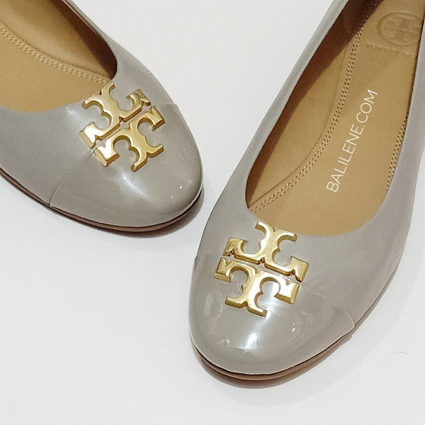 Tory Burch 60226 Everly Cap Toe Ballet Nappa Leather French Gray Size 8
