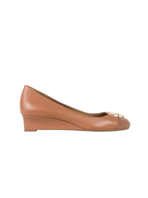 Tory Burch 61547 Everly 35mm Cap Toe Wedge Royal Tan Size 6