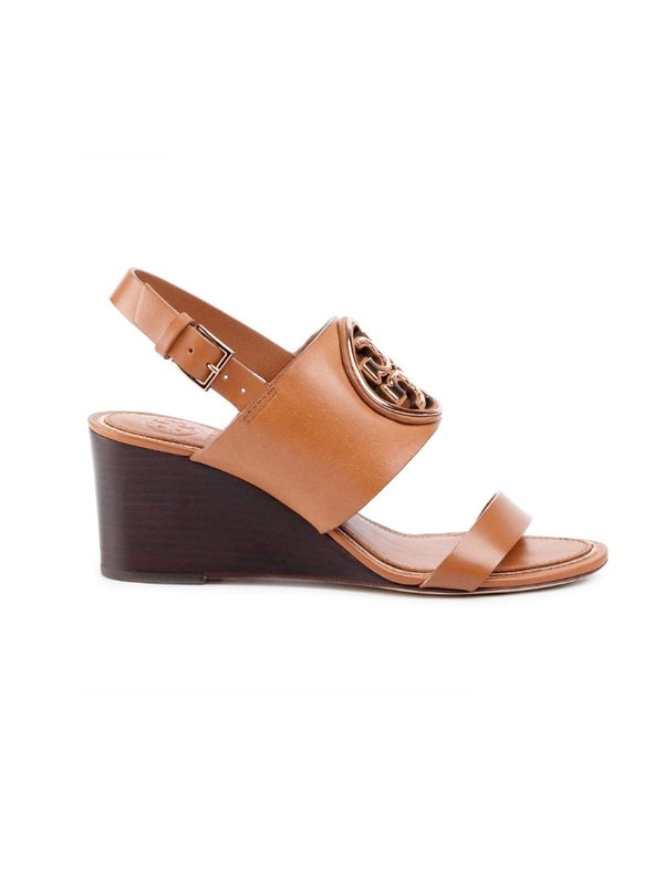 Tory Burch 56115 Metal Miller 65mm Wedge Tan /rosegold Size 7.5