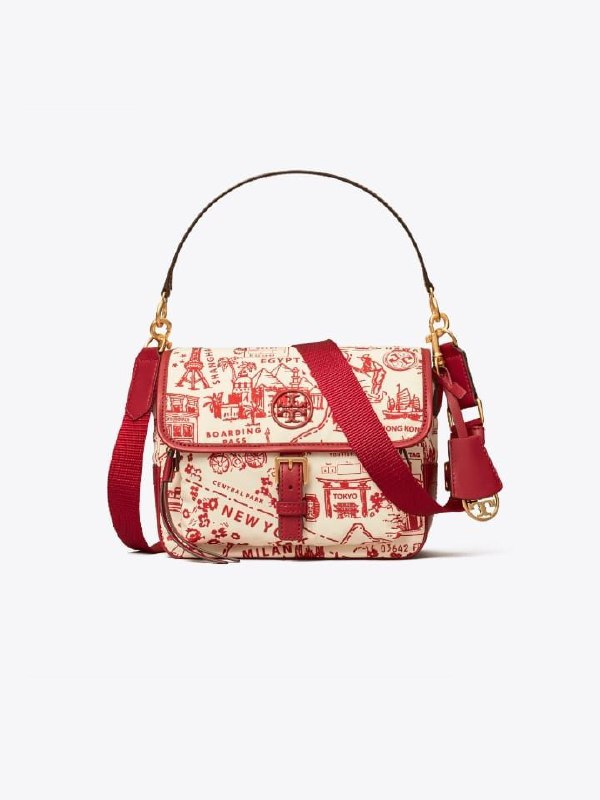 Tory Burch 74455 Perry Nylon Printed Crosbody Red Destination