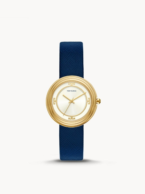 Tory Burch Tbw6101 Bailey Three-Hand Navy Leather Watch