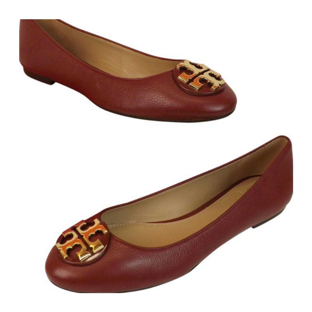 Tory Burch 43394 Claire Ballet Tumbled Leather Flats Red Agate (Size 6)