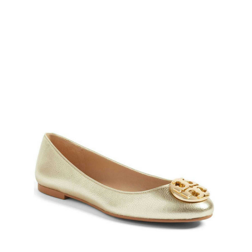 Tory Burch 43399 Claire Ballet Flat Mettalic Tumbled Spark Gold (Size 7)
