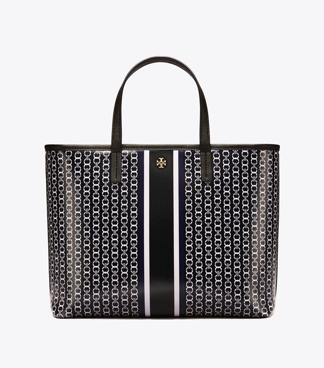 Tory Burch 43896 Gemini Tote Small Black Link Stripe