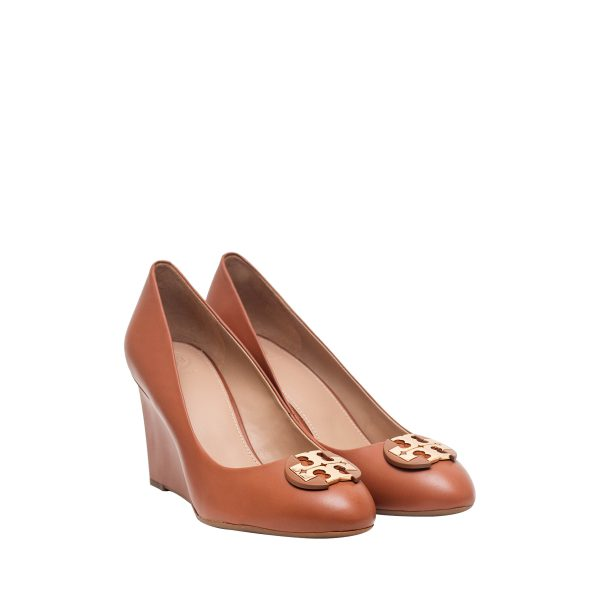 Tory Burch 46317 Luna 65mm Wedges Calf Royal Tan Sz 6.5