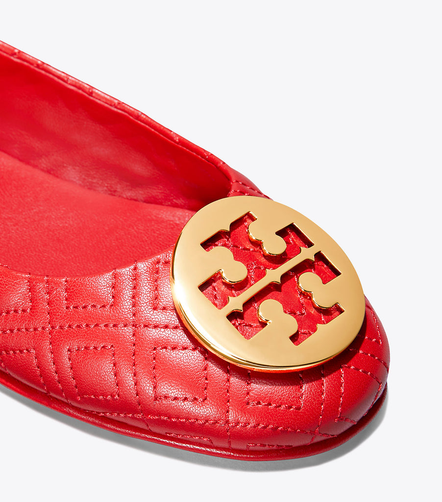 Tory Burch 50736 Quilted Minnie Napa Leather Brilliant Red Size 6