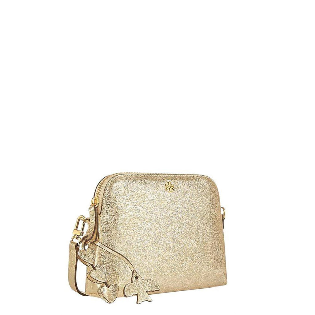 Tory Burch Peace Pebbled Metallic Leather Crossbody Spark Gold
