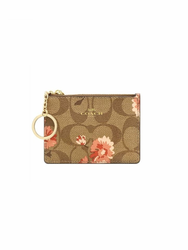 Coach F78047 Signature Daisy Mini ID Case Khaki Coral Multi