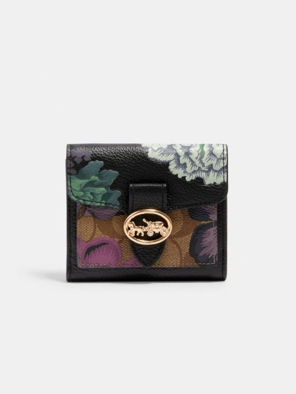 Coach 6789 Small Wallet In Signature Canvas With Kaffe Fasset Print Black Green Multi