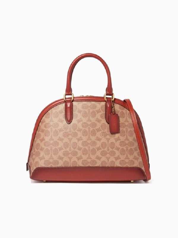 Coach F38626 Signature Canvas Quinn Satchel Tan Rust