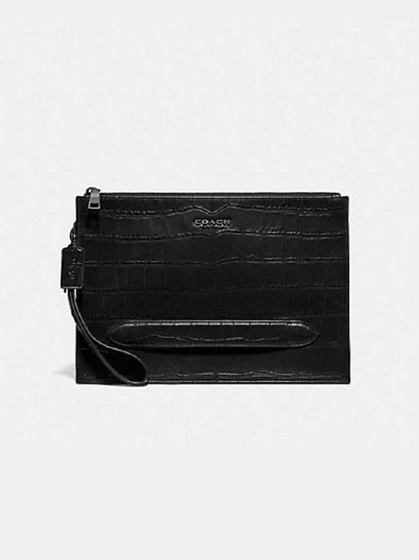 Coach F73151 Structure Pouch Croco Embosed Black
