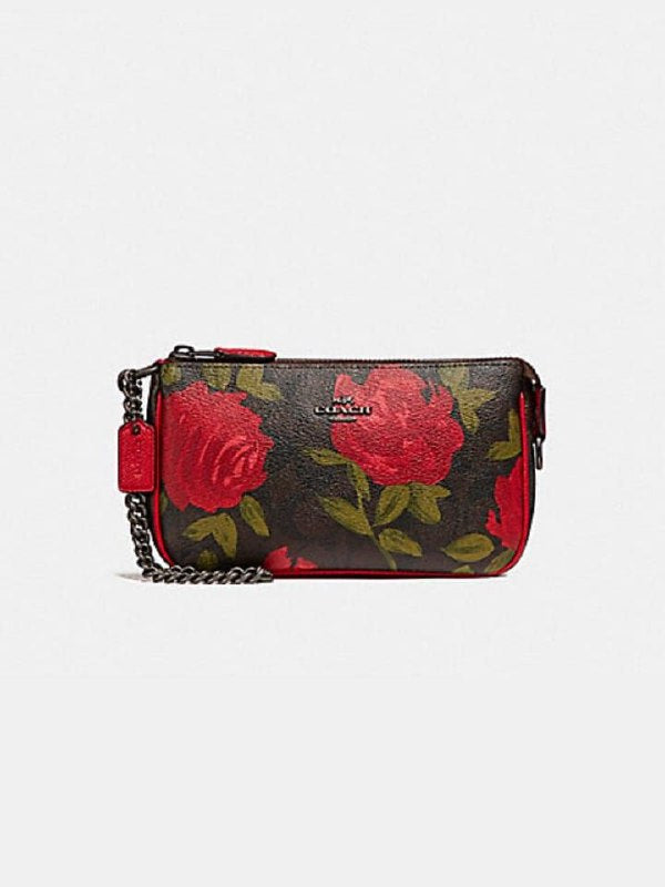 Coach F25787 Large Wrislet With Camo Rose Floral Print Brown Black Multi