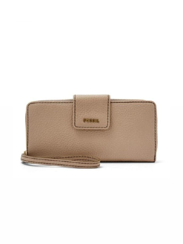 Fossil Swl1575271 Madison Leather Zip Clutch Taupe