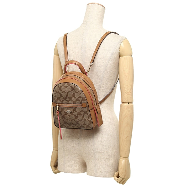 Coach F38998 Andi Backpack In Signature Canvas Khaki Neon Pink
