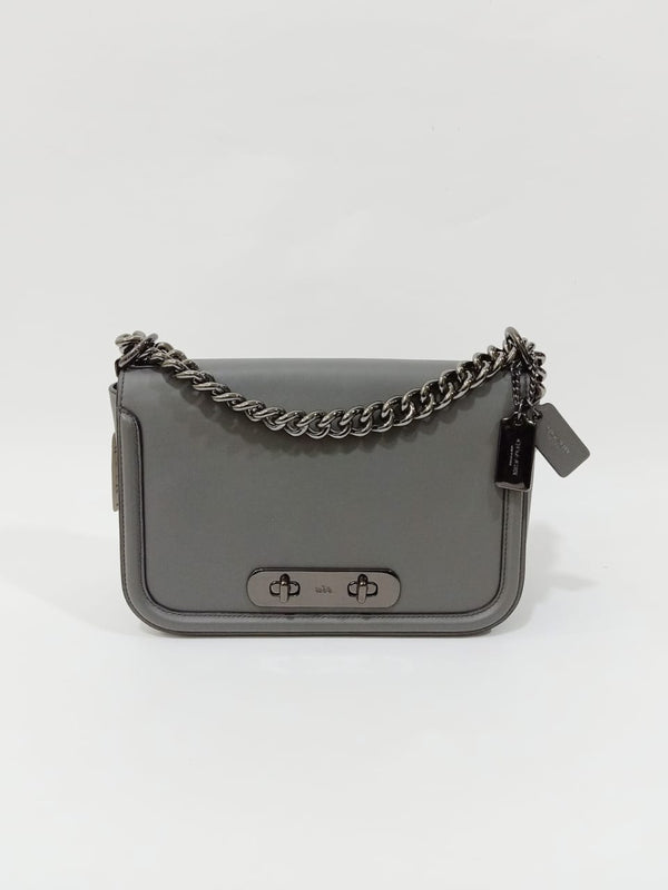 coach 54640 swagger crossbody glovtaned heather grey