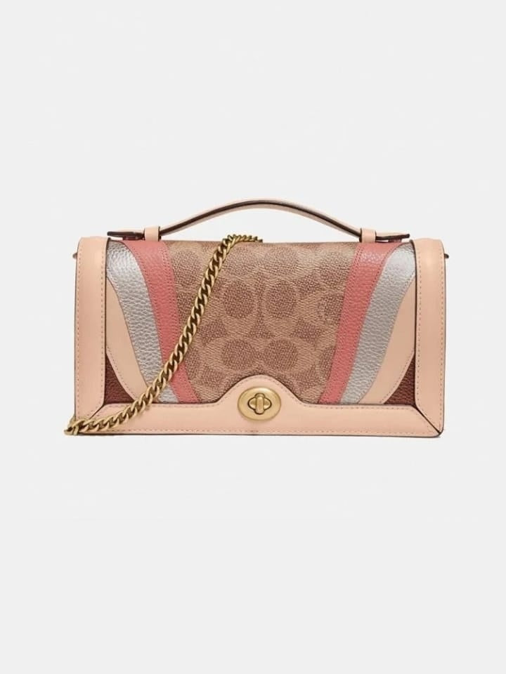 Coach 71483 Riley Chain Clutch Sig With Wave Patchwork