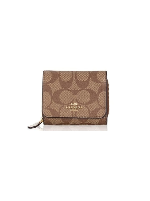 Coach F41302 Small Wallet Trifold Khaki Chalk