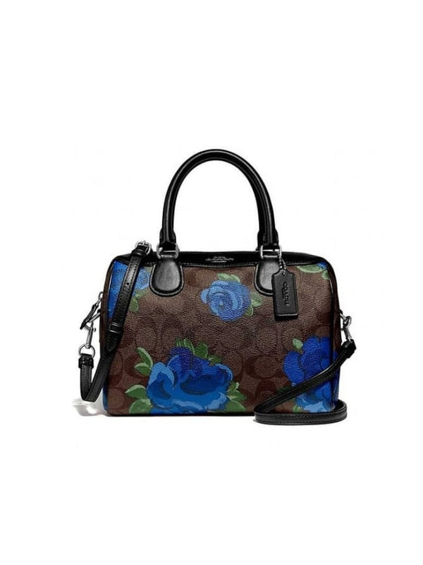 Coach F39962 Mini Bennet Signature Canvas With Floral Print Brown Black Multi