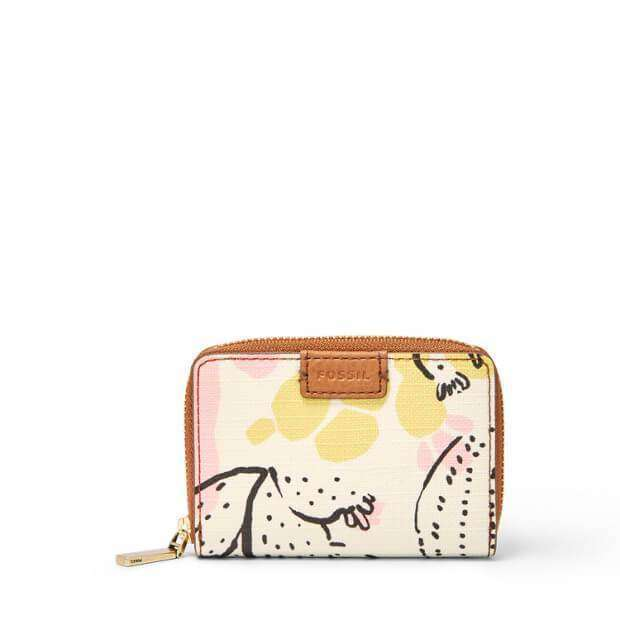 jam-SL7498P-Fossil RFID Mini Zip Card Case Pink Floral-Balilene