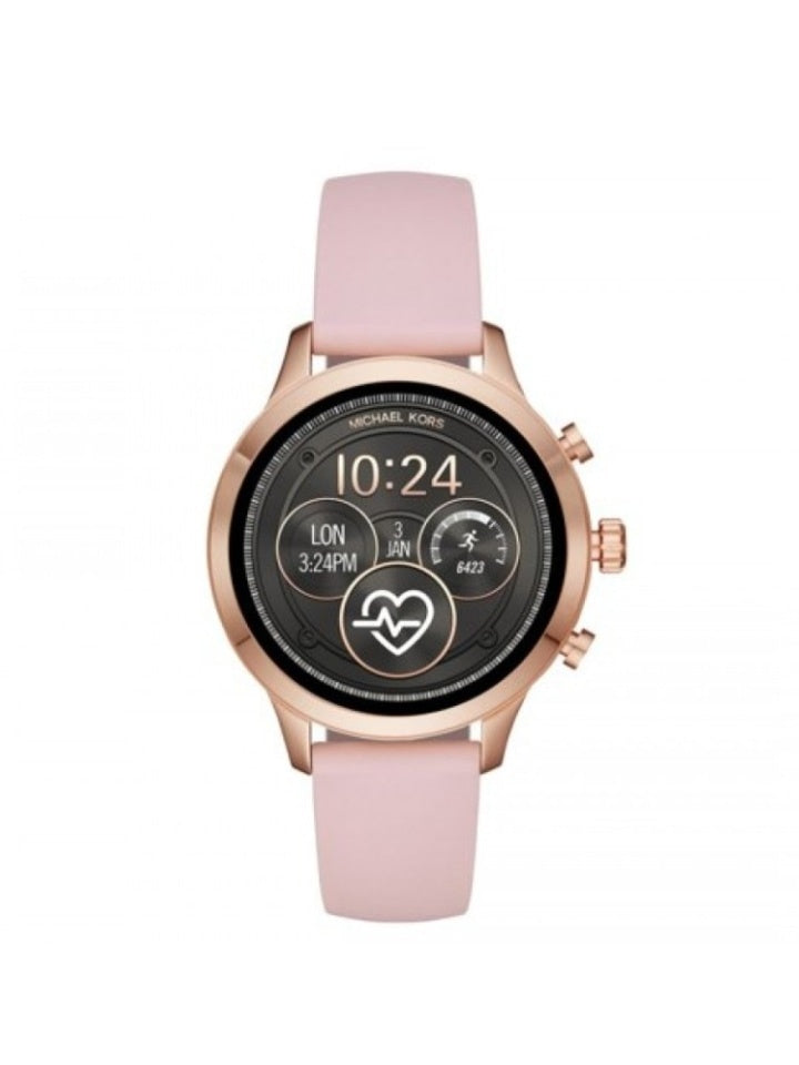 Michael Kors Mkt5048 Runway Heart Rate Rose Gold-tone And Silicone Smartwatch