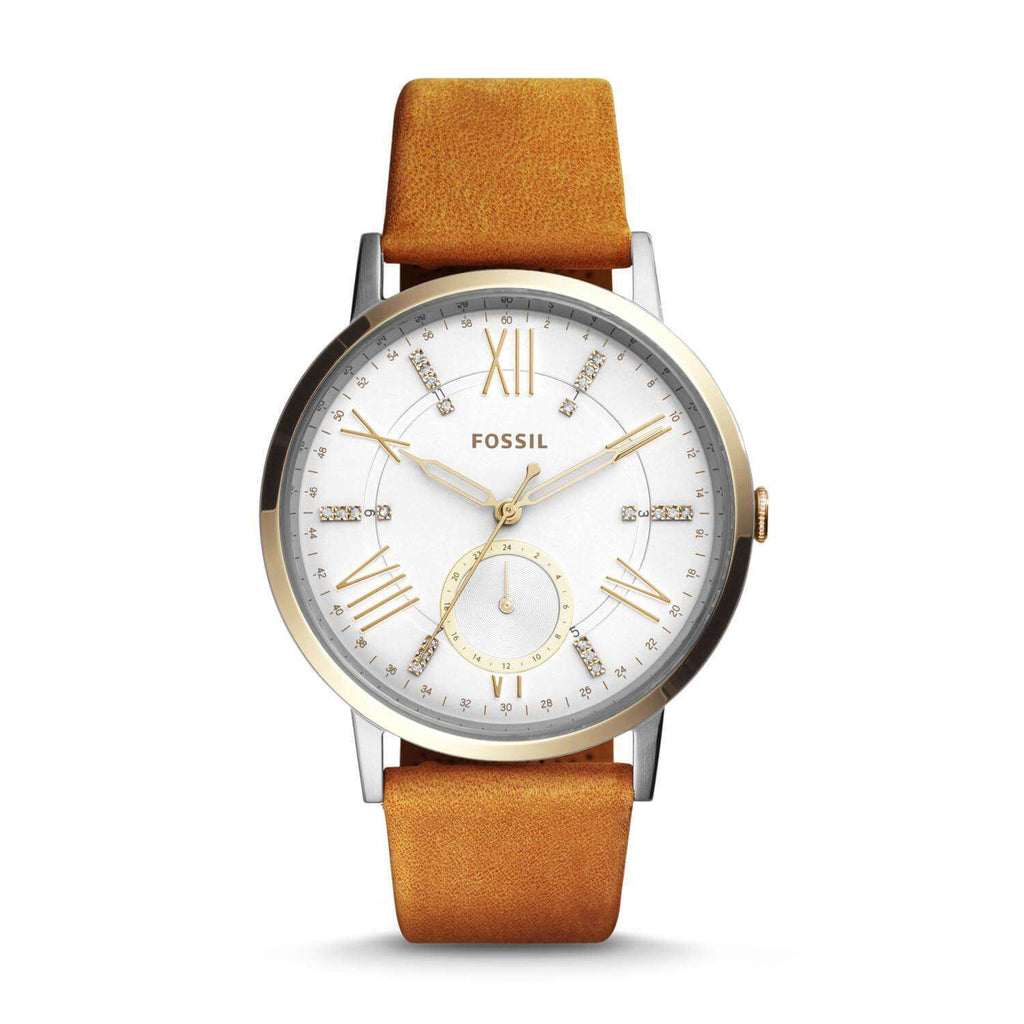 Fossil ES4161 Gazer White Dial Brown Ladies Leather Watch