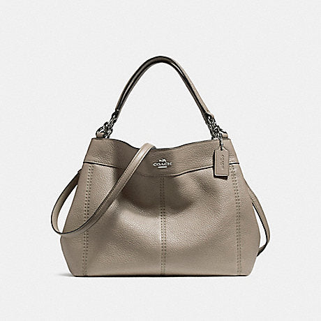 Coach Pebbled Leather Small Lexy Shoulder Bag Fog 23537  depan
