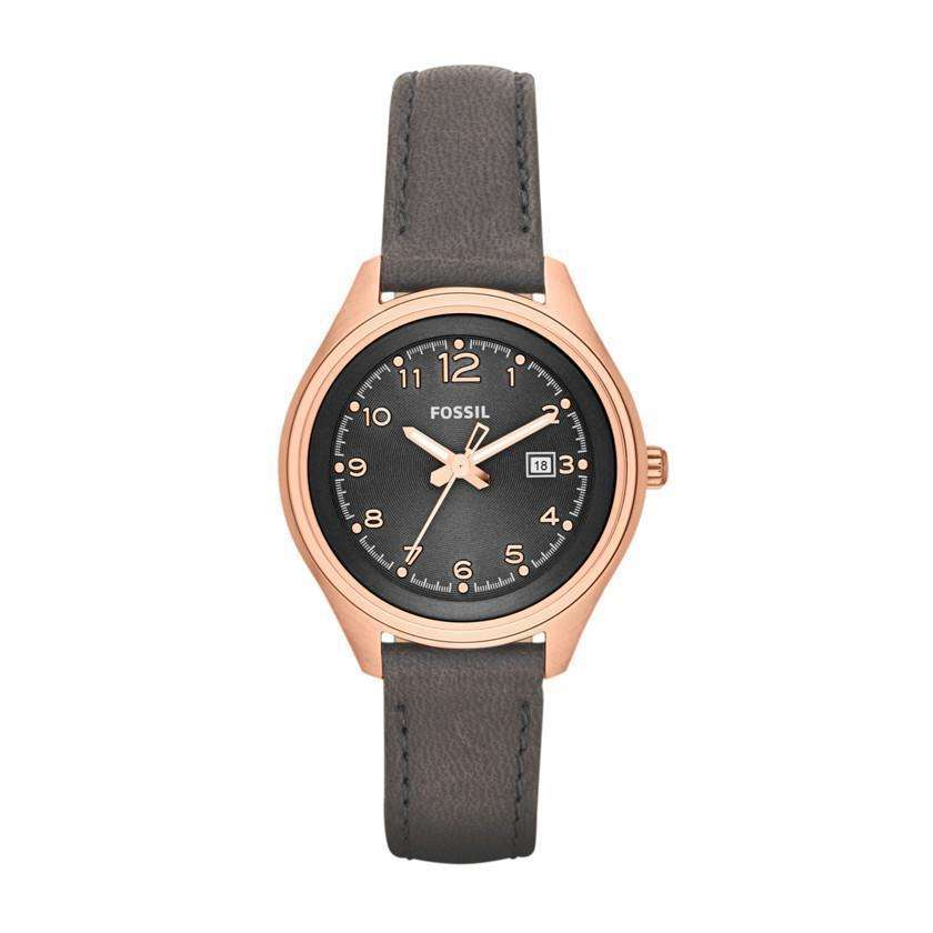 jam-Am4500-Fossil Analog Dial Grey Watch Leather-Balilene