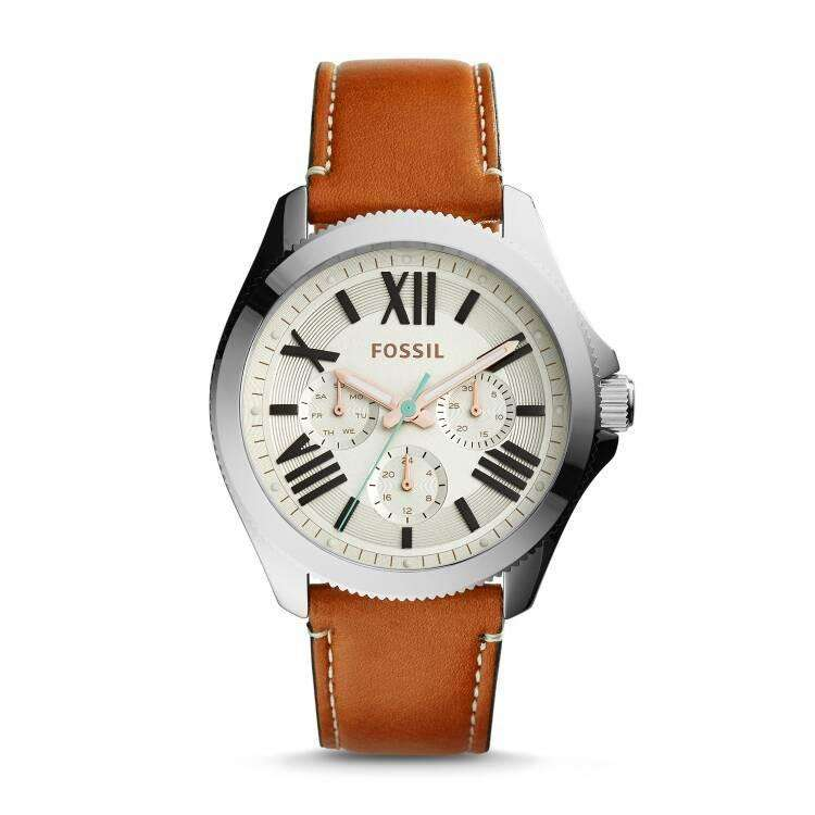 jam-AM4638-Fossil Cecile Multifunction Dark Brown Leather Watch-Balilene