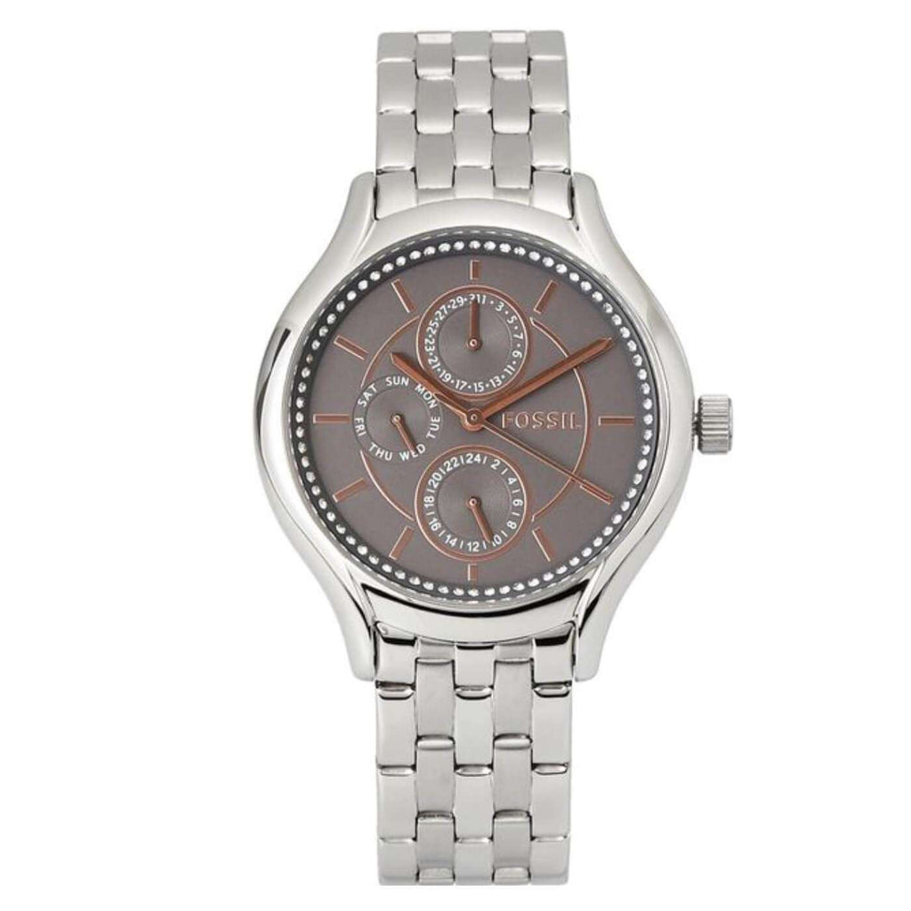 jam-Bq3165IE-Fossil Silver Crystal Multifunction Bracelet Watch-Balilene