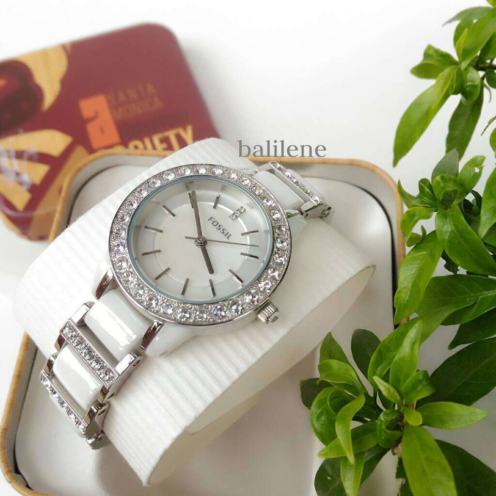 jam-Ce1017-Fossil Jesse Ceramic White Watch-Balilene