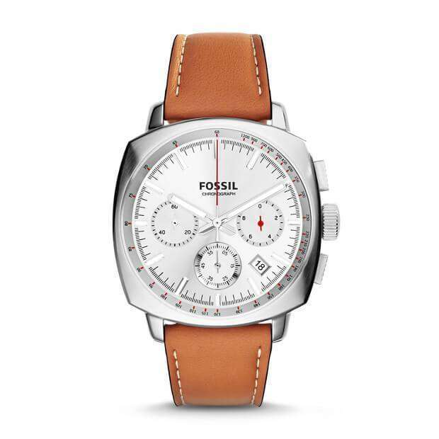 jam-Ch2985-Fossil Haywood Chronograph Dial Silver Tan Leather-Balilene