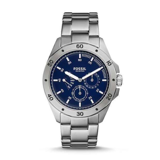 jam-CH3034-Fossil Sport 54 Multifunction Silver Blue Stainless Steel Watch-Balilene