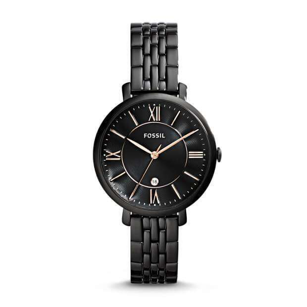 jam-Es3614-Fossil Jacqueline Black Dial Ladies Casual Watch-Balilene