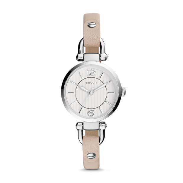 jam-Es3808-Fossil Georgia Mini White Leather Watch-Balilene