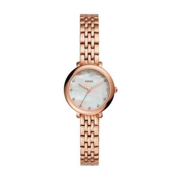 jam-Es4031-Fossil Jacqueline Mini Mother Of Pearl Dial Ladies Rose Gold Watch-Balilene