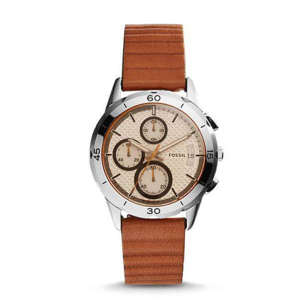 jam-Es4043-Fossil Modern Pursuit Chronograph Dark Brown Leather-Balilene