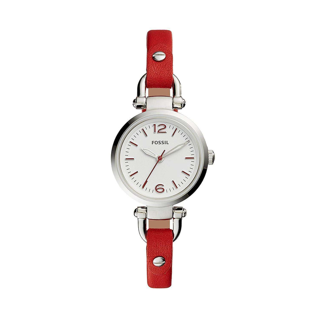 jam-Es4119-Fossil Georgia Mini Three-hand Red Leather Watch-Balilene