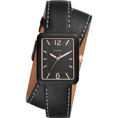 jam-ES4193-Fossil Atwater Black Dial Ladies Wrap Leather Watch-Balilene