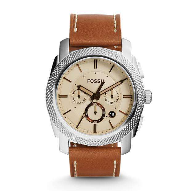 jam-FS5131-Fossil Machine Chronograph Light Brown Leather Watch-Balilene