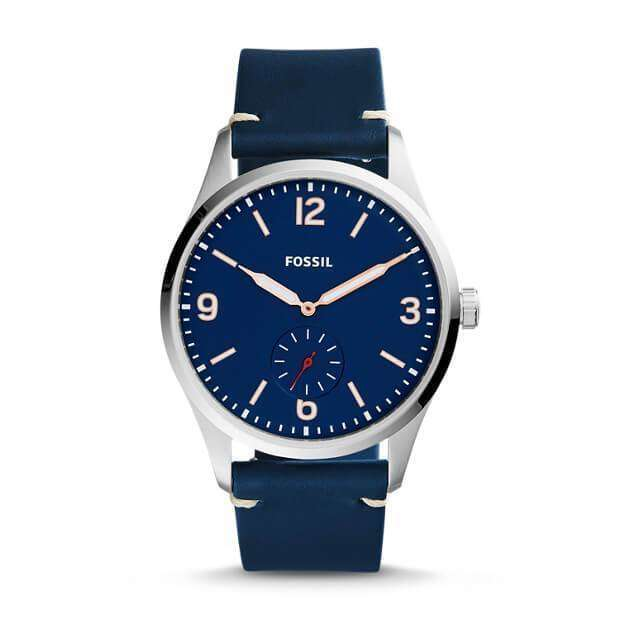 jam-FS5246-Fossil Vintage 54 Two-Hand Sub-Second Blue Leather Watch-Balilene
