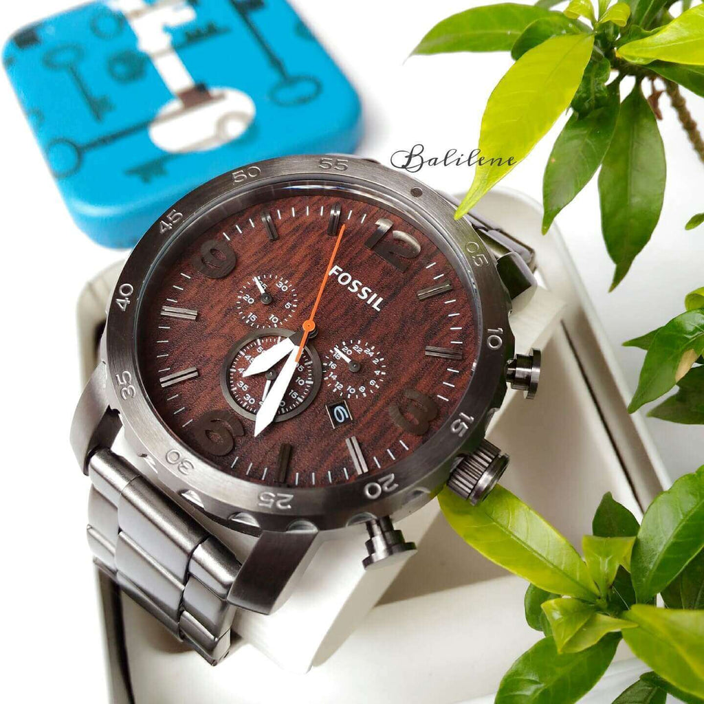 jam-JR1355-Fossil Nate Chronograph Wood Dial Watch-Balilene