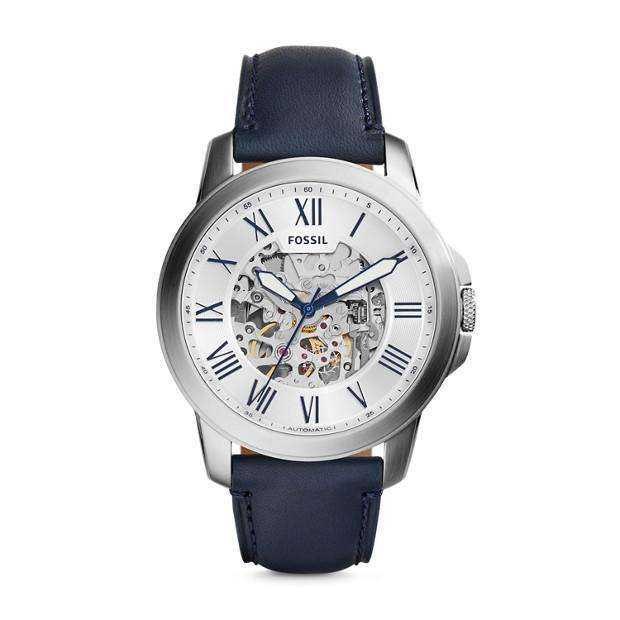 jam-Me3111-Fossil Grant Automatic Navy Leather Watch-Balilene