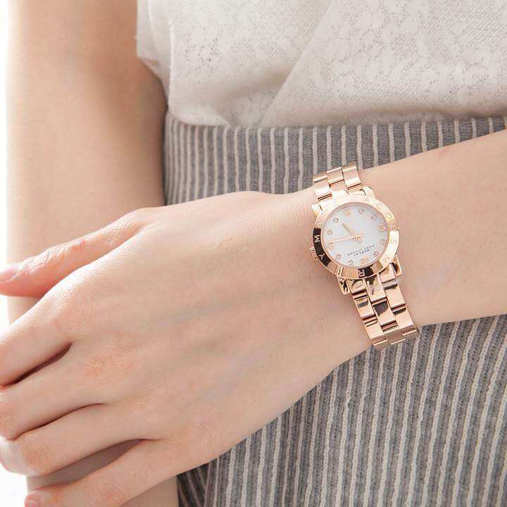 Marc Jacobs MBM3078 Mini Amy White Dial Rose Gold Ladies