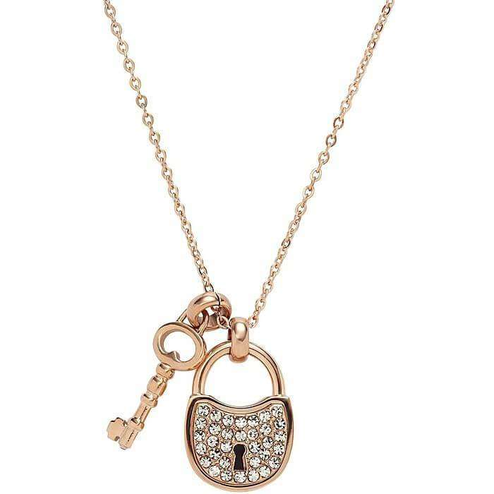 Fossil Necklace Woman Jewellery Fossil Lock and Key