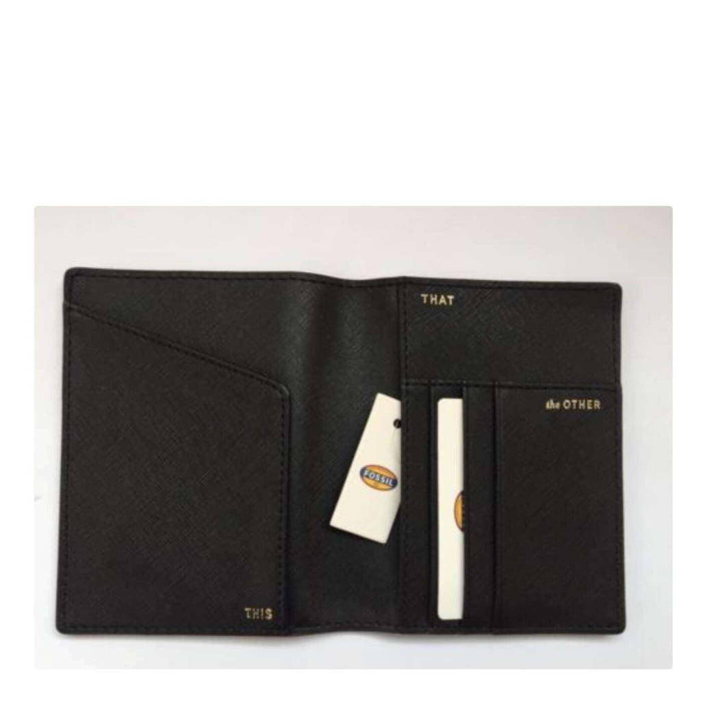 Fossil Leather Passport Case Wallet On My Way Black Multi