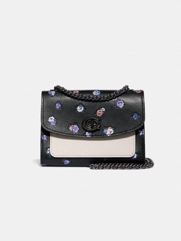 Coach 76124 Parker 18 With Vintage Rosebud Print Black Multi