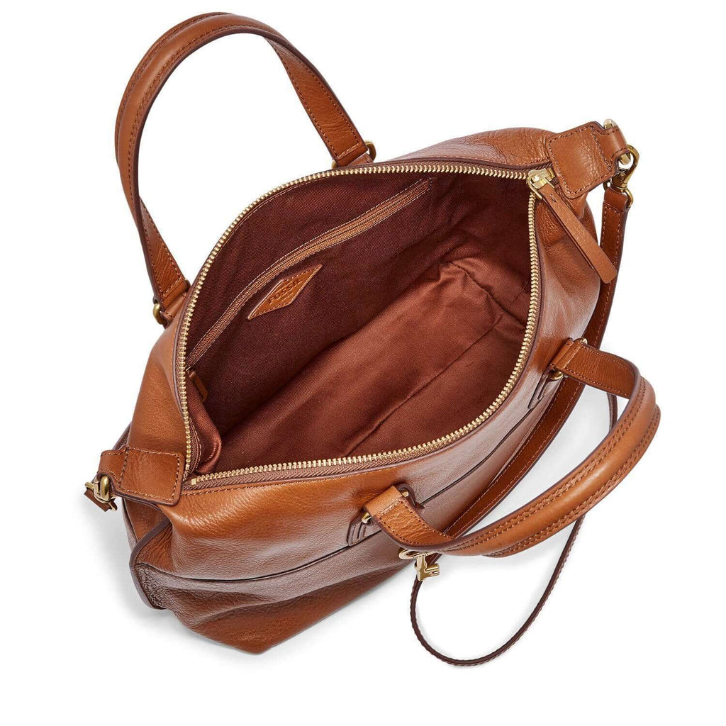 tas-SHB1380222-Fossil Julia Leather Satchel Cognac-Balilene