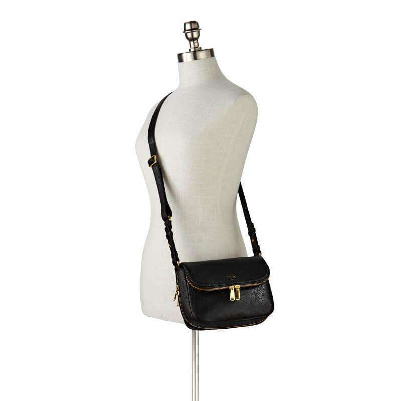 tas-ZB5873001-Fossil Preston Small Flap Cross Body Bag Black-Balilene